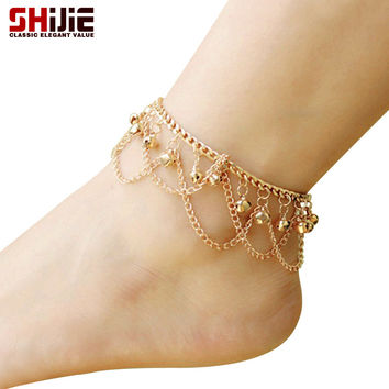 Gold bell anklet ankle bracelets lovely chain tassel anklets for women summer barefoot sandals Shijie fashion foot chain jewelry