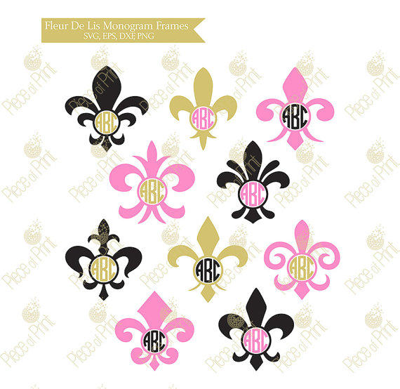 Fleur De Lis Monogram Frame Svg Dxf Eps From Pieceofprint On Etsy