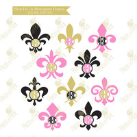 Fleur De Lis Monogram Frame svg dxf eps png cut files Vinyl Decal Die Cut Machine Cricut Silhouette Studio Vinyl Cutting Files