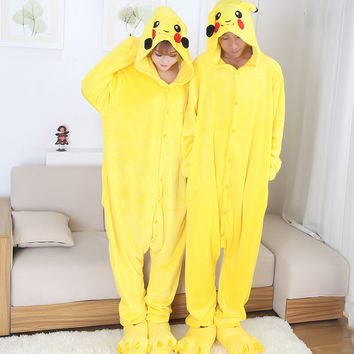 Anime cospaly pokemon pikachu Adult pajamas Onesuit fantasias mascot pikachu costume halloween costumes for women and men