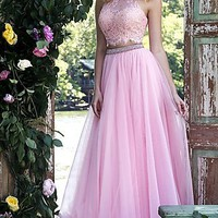 High Neck Sherri Hill Two Piece Prom Dress with Lace Top