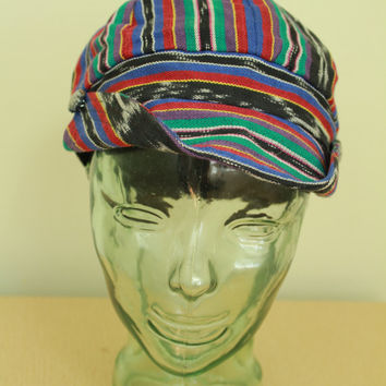 90s - Guatemalan - Boho - Hippie - Ethnic Ikat - Striped - Black Red Green Blue - Buttoned Bill - Cap - Hat - Grunge Revival - Unisex