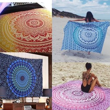 Fashion Accessories Indian Mandala Tapestry Wall Hanging Multifunctional Tapestry Boho Printed Bedspread Cover Yoga Mat Blanket