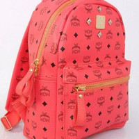 MCM Watermelon Red Stark Mini Studded Backpack
