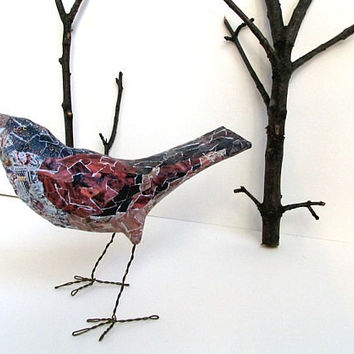 Poppy, dusty coral pink blue bohemian bird sculpture art object paper mache' bird original art whimsical creature recycled materials OOAK