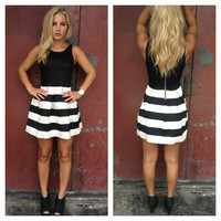 Black & Ivory Stripe Bandage Tulip Dress