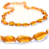Certified Baltic Amber Teething Necklace for Baby (honey bean) - Anti-inflammatory ...