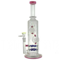 "12"" Stemless + Dowble Honeycomb Filter + Frosted Design + Glass Design + Color. Water Pipe"