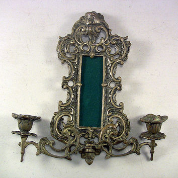 SOLD!  Vintage Petite Ornate Brass Figural Picture Frame 2-Arm Candle Sconce