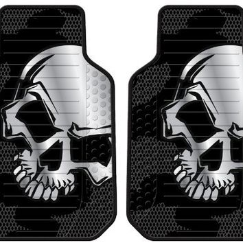 Grey Skull Front Car Truck SUV Floor Mats - Pair