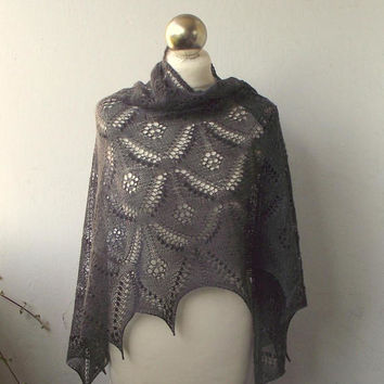 Dark Grey hand knitted   lace shawl with nupps