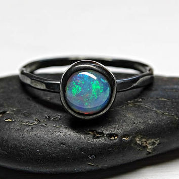 opal engagement ring black silver, welo opal promise ring silver, delicate opal ring, hammered silver ring opal, October birthstone ring