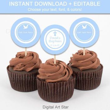 Blue Baptism Cupcake Toppers - Printable Christening Party Decor - EDITABLE Baptism Tags, Religious Christian Labels, Catholic Tags INSTANT