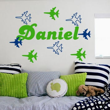 Home Decoration Wall Decal Personalized Name Plane Airplane Decals For Boy Room Art Decor Nursery Kids Bedroom Sticker D-105