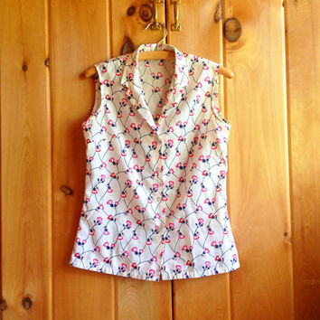 Vintage top | Cherry blossom print sleeveless button-down