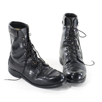Vintage Military Boots Black Leather Steel Toe Combat Boots Mens Size 8.5