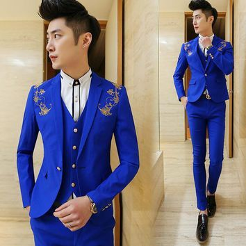 jacket v Mens boutique embroidery groom weddingDress suits male slim social business suits