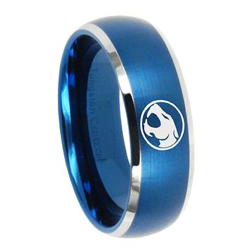 10mm Thundercats Dome Brushed Blue 2 Tone Tungsten Carbide Mens Ring Engraved