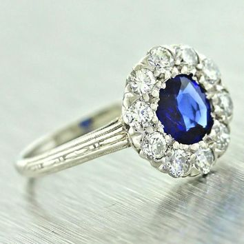 1940 Antique Art Deco Platinum .85ct Sapphire Diamond Halo Style Engagement Ring