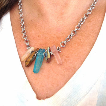 Crystal Necklace- Raw Quartz Sterling Necklace - Crystal Points Necklace- Blue Quartz Necklace - Rainbow Quartz Necklace - Gift For Her