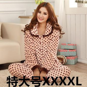 Autumn and winter flannel pajama sets  sleepwear women's coral velvet flannel pajamas female xxxxl plus size plus