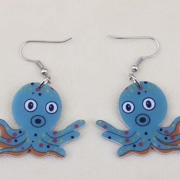 1 pair octopus lovely cute printing drop earrings acrylic new design spring/summer style girl woman jewelry fashion