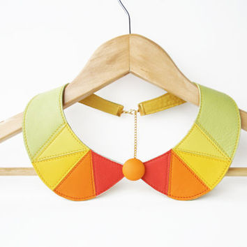Leather Bib Necklace Yellow Orange Green Peter Pan Detachable Collar Geometric Triangle Necklace Citrus Necklace