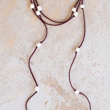 Stella Pearl Necklace - Garnet