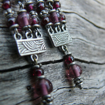 Purple chandelier earrings - silver indian metal with purple glass beads - dangle earrings - boho earrings