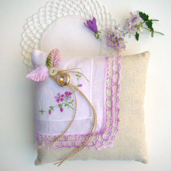 Wedding Pillow, Lavender Vintage Styled Ring Bearer Cushion, Rustic, Romantic, Handkerchief Pillow