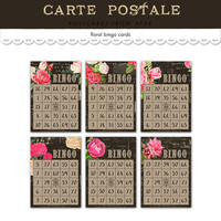 Printable bingo cards / decorative floral vintage bingo cards / scrapbooking, cardmaking / scrapbook embellishments / digital collage sheet