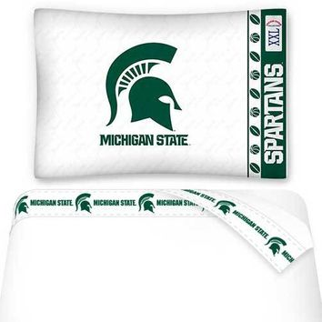 NCAA Michigan State Spartans Bed Sheets Set College Bedding