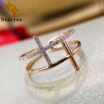 STARYEE Elegant Double Cross Style VS H Natural Diamond Women Engagement Rings Real 18K Solid Rose Gold Jewelry Au750 Stamp
