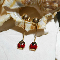 18k Red and Black Enamel Ladybug Dangle Drop Earrings 1.22 grams