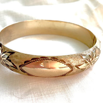 Victorian Bangle Bracelet, Gold Filled Etched Bangle, Etched Leaf Design, Antique Jewelry, Signed Marathon