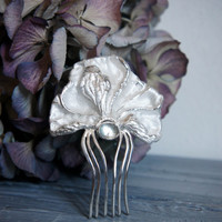 Peony hair comb with blue topaz, sterling silver hair comb, wedding hair comb, bridal hair accessory, flower hair pin, wedding gift