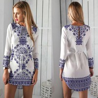 Long Sleeve Print One Piece Dress [22459908122]