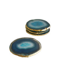 "High Street Market - Set of 4 ""Azure Blue"" Agate Coasters with Gold Leaf Edge"