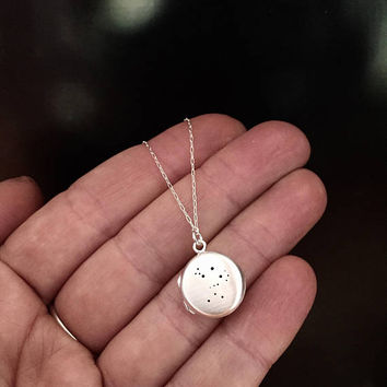 Silver Orion constellation locket necklace | round sterling silver locket | orion necklace | silver chain | custom hand stamped inscription