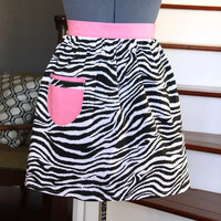 Zebra Half Aprons for Women, Sexy Aprons with Pockets, Womens Aprons, Black White Pink Apron, Handmade Aprons, Kitchen Apron
