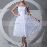 Strapless Knee Length Wedding Dress with Lace Overlay