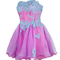 Dressystar Lovely Girls Organza Prom Dress Appliques Beadings Cocktail Dress Sweetheart