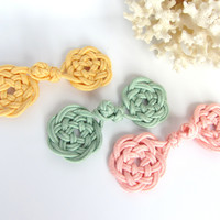 Custom Frog Closure Celtic Knot Yellow Soutache Trim Hand Crafted Sweater Clasp Coat Button Cape Clasp Costume Fastener Blouse Button
