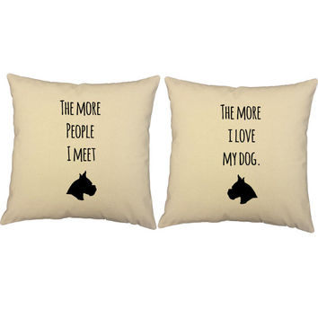 Set of 2 I Love My Dog Cotton throw pillows- Covers and or Cushions - 14x14, 16x16, 18x18