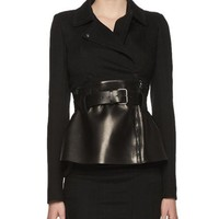 TOM FORD Belted Leather Peplum Wrap Jacket