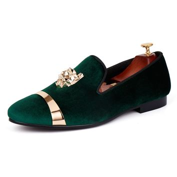 Harpelunde Men Wedding Shoes Slip On Green Velvet Slippers Gold Metal loafers
