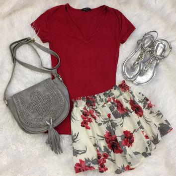 Goes With Everything V-Neck Top: Red