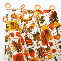Vintage Pleated Kitchen Curtains, 1970s Bright Oranges, Golds & Greens Kitschy Graphics