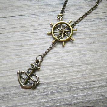 Ship Wheel and Anchor nautical lariat necklace