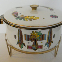 """MOD Retro Mid Century GEORGE BRIARD White Enamel Casserole """"Green Garden"""" Print Corn Print with Chaffing Warmer Gold Rack Included Large"""